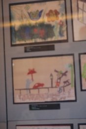 Child's art from the Terezin concentration camp on display at Pinkas Synagogue, Prague