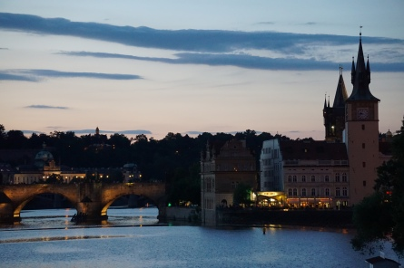 Sundown on Prague and the Vitava river