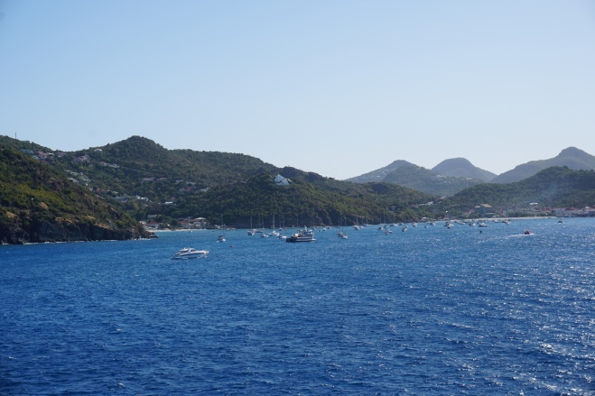 View from cabin on arrival in St. Barths