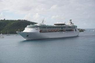 Grandeur of the Seas sailing into St. Thomas harbor