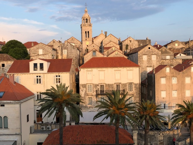 Korcula Old Town at sunset