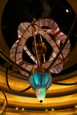 Glass sculpture over atrium staircase