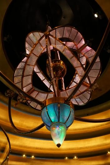 Glass sculpture over atrium staircase